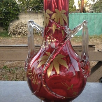 antique red ruby glass vase with hand painted gold flowers - Art Glass