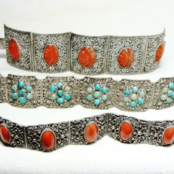 Chinese Carnelian, Coral, and Turquoise Filigreed Bracelets - Fine Jewelry