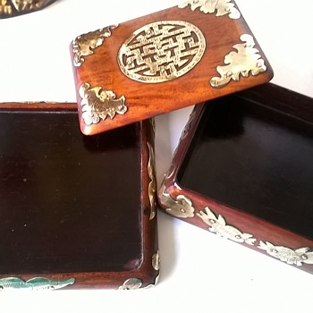Beautiful Chinese Export Wood Lacquer & Brass Trim Box - For Cigarettes?