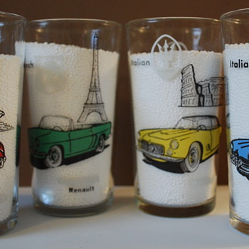 European Sports Car Tumblers-MG, Renault, Mercedes, Jaguar, Alfa Romeo - Glassware