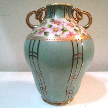Floral and Gilt Moriage Nippon Handled Vase/Circa 19th-20th Century