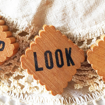 Wooden Stop Look Listen Railroad Buttons - Sewing