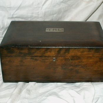 Antique Wood & Metal-lined Cigar Humidor ~ Initialed T.A.L.