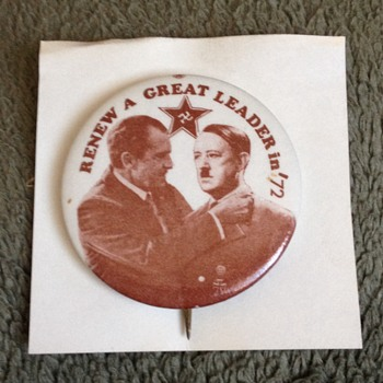Rare Anti-Nixon Hitler Campaign Pinback Button - Medals Pins and Badges