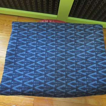 "Cornflower Navy Blue ""V"" Heavy Wool Blanket - Rugs and Textiles"
