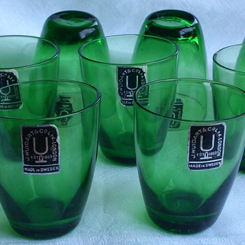 Modern 1950s (?) J Wuidart & Co Ltd London glasses made in Sweden - Glassware