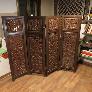 19th Century Rosewood - Chinese Folding Screen/Room Divider - Asian