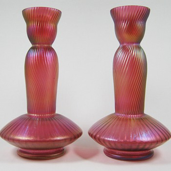 Pair of Kralik or Rindskopf Cranberry iridescent glass vases ca. 1900