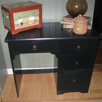 Vintage School desk I painted black from Catholic School in Arlington,MA