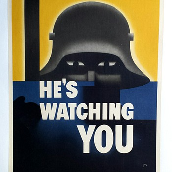 "Original 1942 ""He's Watching You"" WW2 Offset Lithograph Poster - Posters and Prints"