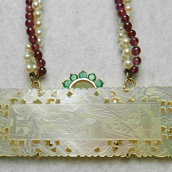 14k Gold, Emeralds, Pearls, & Garnets - 19th Century Chinese Gambling Token