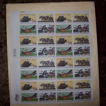 Full sheet (32 stamps) 1970 Commerative 6c Us Postage four styles - Stamps