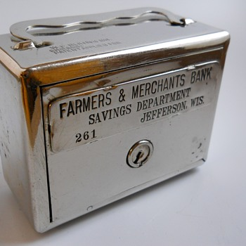 "Promotional Advertising Steel Bank""Farmers & Merchants Bank, Jefferson, Wisconsin""Circa 1920"