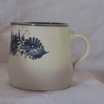 Salt glazed Pottery blue flower pitcher - Art Pottery