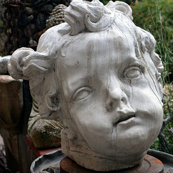 Large Plaster Cast of the Face of a Putti or Cherub