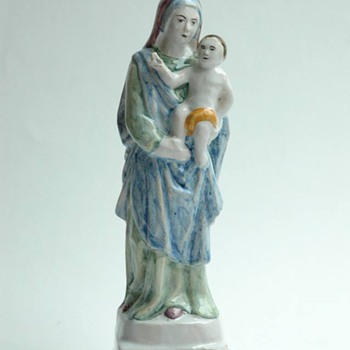 "antique french majolica  of virgin figure ""notredame du chene"" by EMILE TESSIER"