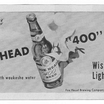"1950 Fox Head ""400"" Beer Advertisement - Advertising"
