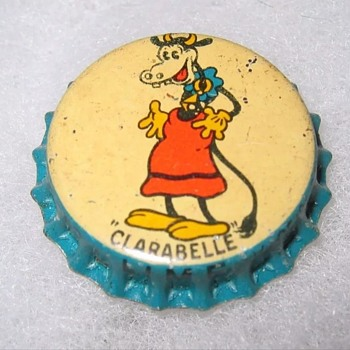 1930s Clara Elle cow bottle cap - Advertising