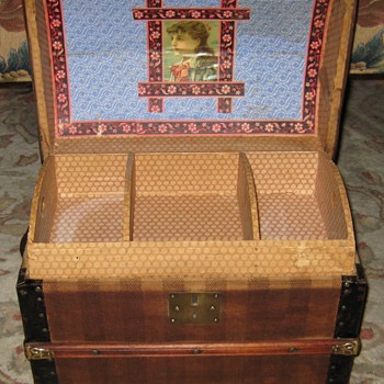 Interior of Unique Antique Doll Trunk - Furniture