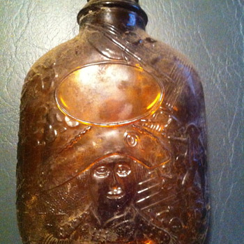 historical theme amber flask - Bottles