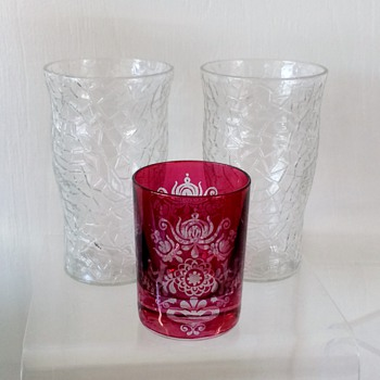 "Vintage Riedel Cranberry & L.E. Smith ""Crackle"" Depression Tumblers  - Art Glass"
