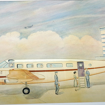 Like to get some I.D. on this artist..early 50's commerial airliner. Thanks - Advertising
