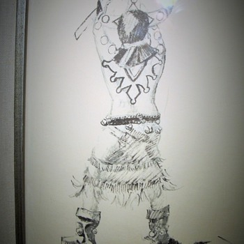 NATIVE American Apache Dancer Signed JAMES BRANSCUM etching ART - Visual Art