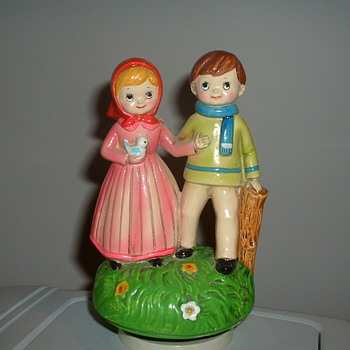 Vintage Musical Figurine Boy and Girl walking - Music