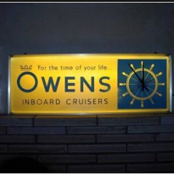Owens Boat Advertising Clock - Advertising