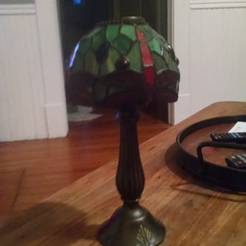 Stained glass candle lamp 1930's