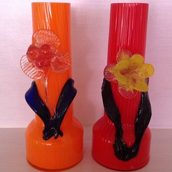 Czech Tango glass vases with applied flowers - Kralik?