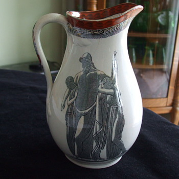 JOHN FLAXMAN Inspired CLASSICAL THEMED Pottery PITCHER - Art Pottery