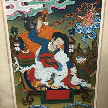 Very Colorful Chinese / Japanese Original Asian Art Painting Thangka