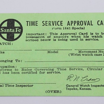 "Santa Fe ""Official"" Certification Card for Railroad Watch"