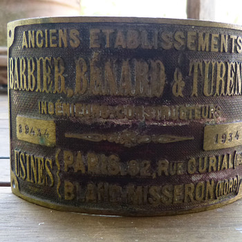 Barbier, Benard & Turenne Brass Plate from 1934