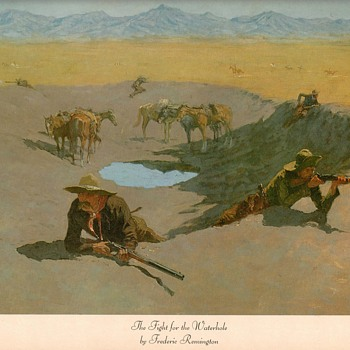 "Frederic Remington print - ""Fight For The Waterhole"""