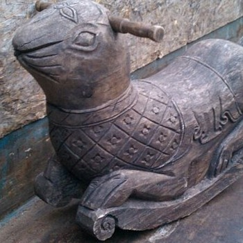 Hand Carved Wood Old Rabbit Rocker Toy