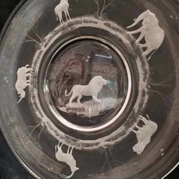 Jungle Animals Cut Art Glass Plate - Glassware