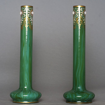 pair of malachite Loetz Marmoriertes