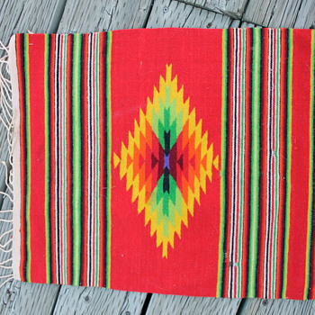 "Native American small fringed ""rug"" appx. 17 inch by 20 inch. - Native American"