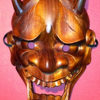 Japan Hannya/ Teak wood Demon Mask non-painted ! - Visual Art