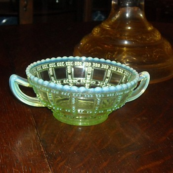 Vaseline Glass Beaded Block Small Bowl with Sea Foam Trim