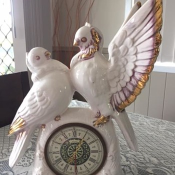 Jema Holland Large Twin Turtle Doves Mantle Clock numbered (418) - Clocks