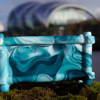 SOWERBY MALACHITE FLOWER TROUGH GATESHEAD - Art Glass