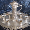 WMF Tray, Teapot, 6 matching cups - 1890-1900 Silver Plate