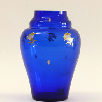 Blue vase with enameled flowers and dots