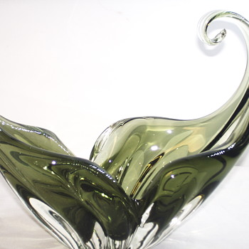 Art Glass Green Bowl, Chalet, Loraine or others, 1970-80 - Art Glass