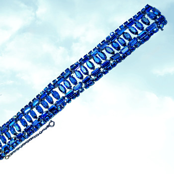 Sherman Jewellery, Sherman Bracelet, Cobalt Blue Enhanced by Aurora Borealis Stones - Art Deco