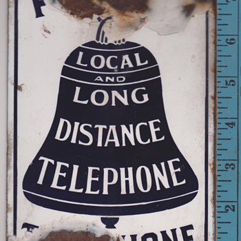 Early small Public Telephone Local and Long Distance sign - Telephones