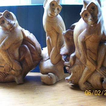 "My Bali  hand carved Monkeys and bird From what they call ""Wood Rose"""